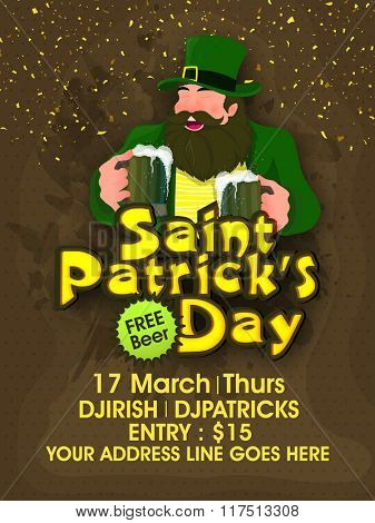 St. Patrick's Day Party celebration Pamphlet, Banner or Flyer design with illustration of happy Leprechaun holding beer mugs on brown background.