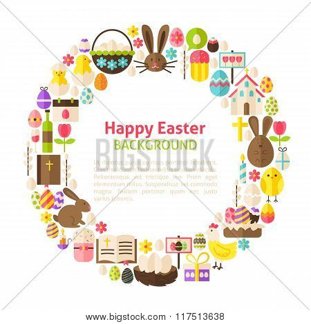 Flat Style Vector Circle Template Collection Of Happy Easter Objects Over White