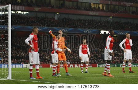 LONDON, ENGLAND - NOV 04 2014:   during the UEFA Champions League match between Arsenal from England and Anderlecht from Belgium played at The Emirates Stadium.