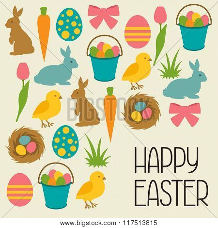 Happy Easter greeting card with decorative objects. Concept can be used for holiday invitations and