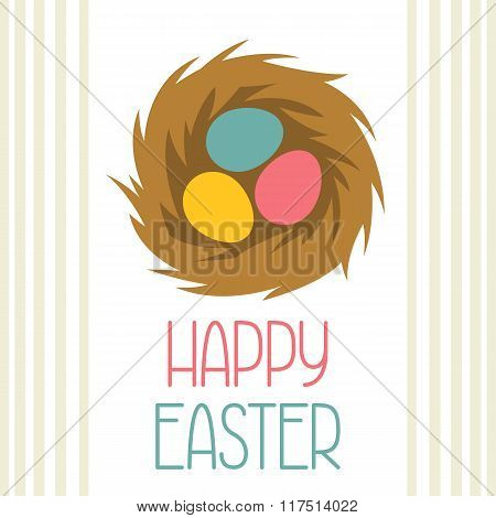 Happy Easter greeting card with decorative nest. Concept can be used for holiday invitations and pos