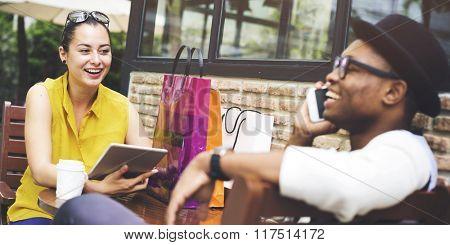 Leisure Commercial Consumer Couple Shopping Concept