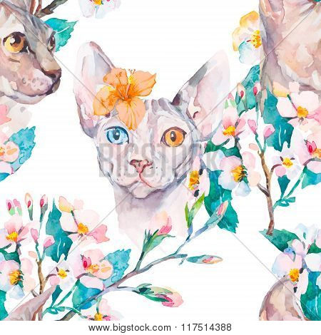 Hand drawn pattern Elegant Sphynx cat and tropical flower. Fashion portrait of cat.Sphinx. Spring pa
