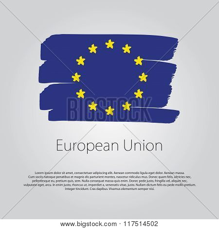 European Union Flag With Colored Hand Drawn Lines In Vector Format
