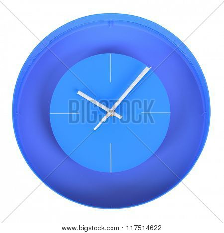 Simple classic white and blue round wall clock isolated on white