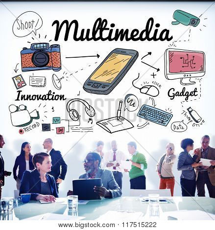 Multimedia Communication Digital Content Concept