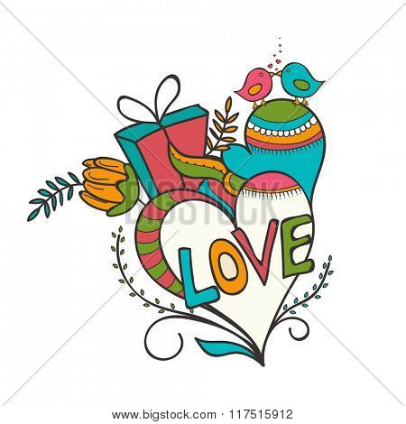Happy Valentine's Day celebration with colorful text Love, hearts and cute couple of birds on white background.