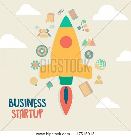 Creative Start up Business infographic layout with various elements and colorful rocket on cloudy background.