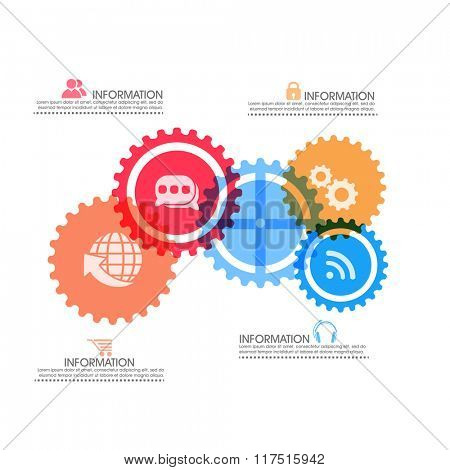 Creative Business Infographic layout with colorful web icons.