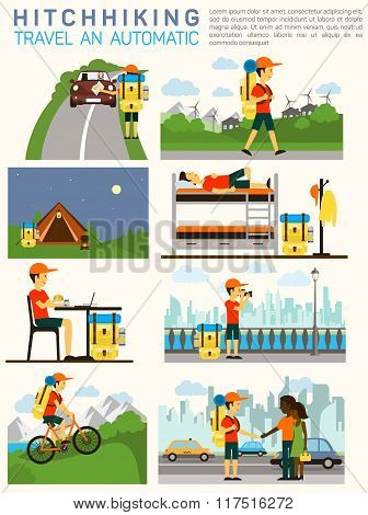 Vector flat illustration infographic of hitchhiking tourism road travel. Man with a big backpack tra