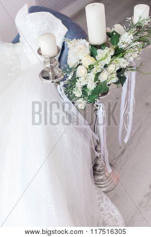 Wedding Details With Wedding Dress. Bridal Morning