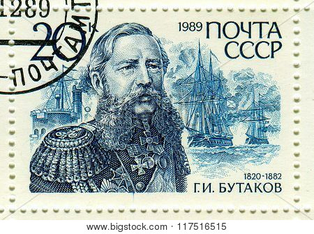 GOMEL,BELARUS - FEBRUARY 2016:A stamp printed in USSR shows image of the Grigory Ivanovich Butakov (9 October 1820 - 31 May 1882) was a Russian admiral who fought in the Crimean War, circa 1989.
