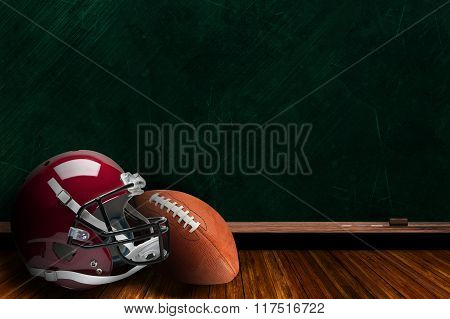 Football Equipment And Chalk Board Background