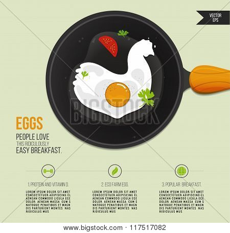 Vector illustration chicken egg in a frying pan. Popular breakfast infographics. Fried eggs icon wit