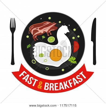 Vector illustration omelet with bacon, parsley, green pea, onion and tomato in flat style. Can be us