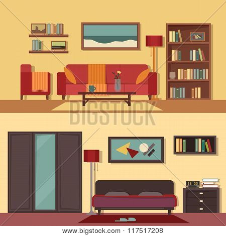 Vector flat illustration banners set abstract isolated for rooms of apartment, house. Home interior