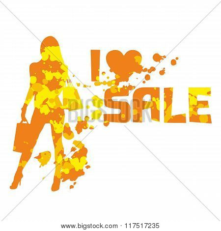 Abstract Silhouette Of The Shopping Lady With The Text I Love Sale.