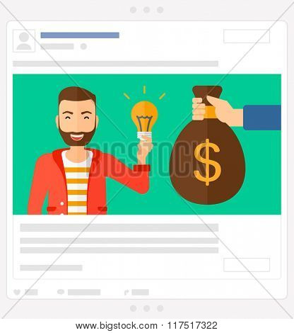 Successful business idea. Social media post.