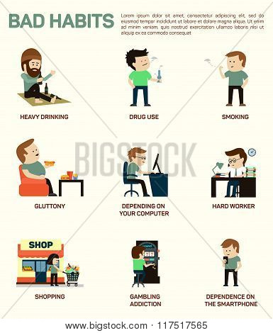 Vector flat illustration infographic of popular bad habits. Alcohol drinking, drug usage, smoking, g