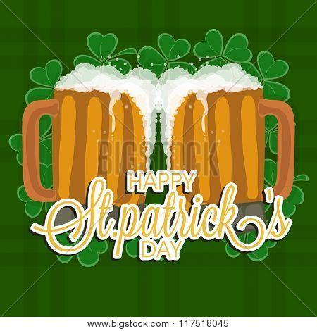 Creative mugs full of beer on shamrock leaves decorated green background for Happy St. Patrick's Day celebration.