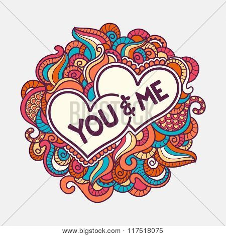 Stylish text You & Me in hearts on colorful floral design decorated background for Happy Valentine's Day celebration.