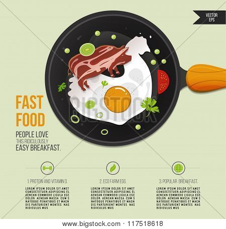 Vector illustration chicken egg and bacon in a frying pan. Popular breakfast infographics. Fried egg