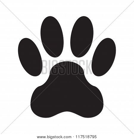 Animal footprint isolated on white background. Dog paw icon or sign. Vector illustration.