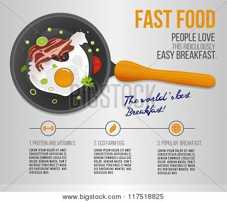 Vector chicken egg and fried bacon in a pan. Infographics about the worlds popular breakfast. Scramb