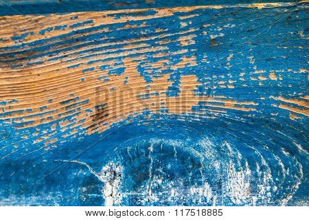 Cracked Old Blue Paint On Wood Background