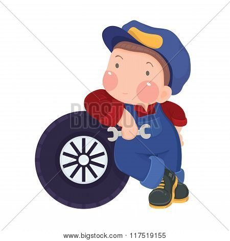 Auto Mechanic Boy Leaning Against a Car's Tire