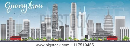 Guangzhou Skyline with Gray Buildings and Blue Sky. Business Travel and Tourism Concept with Modern Buildings. Image for Presentation Banner Placard and Web Site.