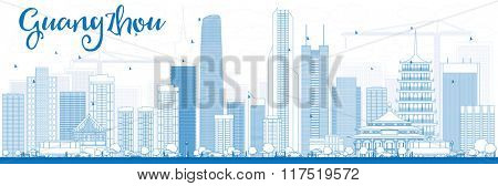 Outline Guangzhou Skyline with Blue Buildings. Business Travel and Tourism Concept with Modern Buildings. Image for Presentation Banner Placard and Web Site.