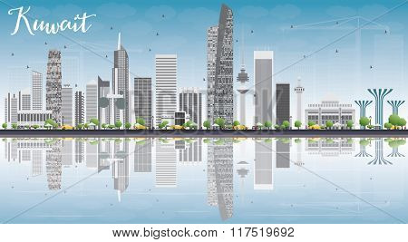 Kuwait City Skyline with Gray Buildings, Blue Sky and Reflections. Business Travel and Tourism Concept with Modern Buildings. Image for Presentation Banner Placard and Web.