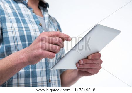 Closeup portrait of a man using tablet computer