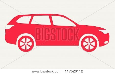 Car silhouette. Red icon of suv. Vector illustration.