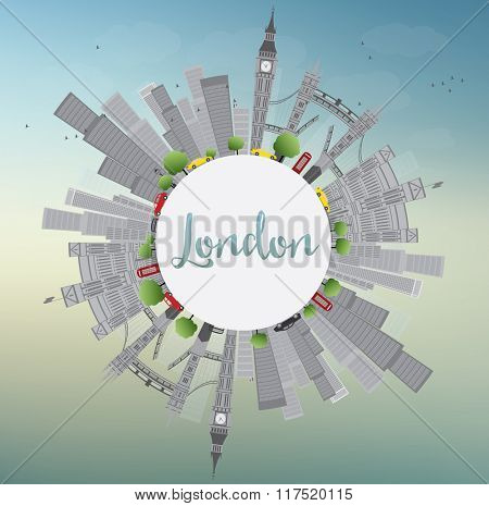 London Skyline with Gray Landmarks and Blue Sky. Business Travel and Tourism Concept with Historic Buildings and Copy Space. Image for Presentation Banner Placard and Web Site.