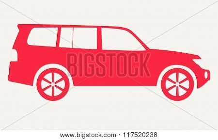 Car silhouette. Red icon of suv. Off road vehicle. Vector illustration.
