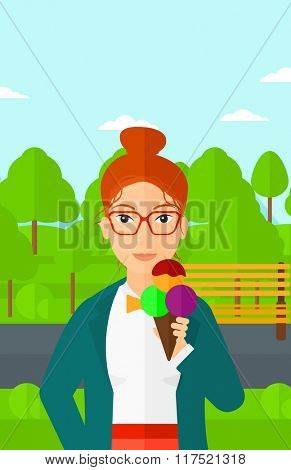 Woman holding icecream.