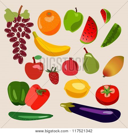 Vector Collection Of Fruits And Vegetables.