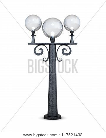 Round street lamp on a white background. 3d rendering.