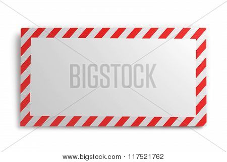 Envelope with striped frame isolated on white background. 3d ren
