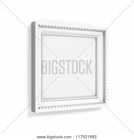 Carved picture frame isolated on white background. 3d rendering