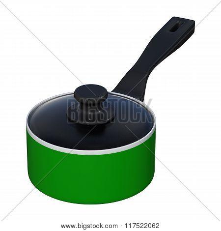 Green Saucepan On White