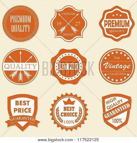 Premium quality, best price, vintage design badges and labels set. Vector illustration.