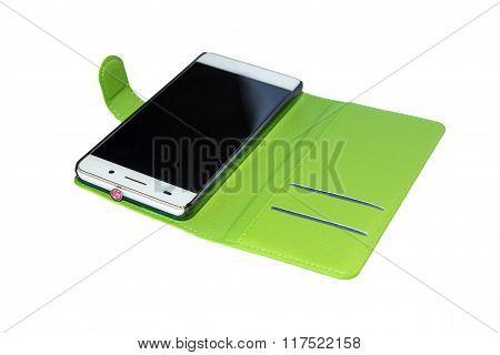 White Smartphone In Open Cover
