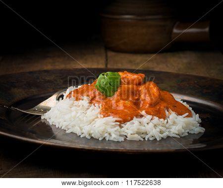Butter Chicken On Rice Closeup