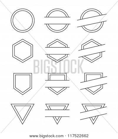 Set of Blank Vintage Frames for Logo - Isolated Vector Illustration