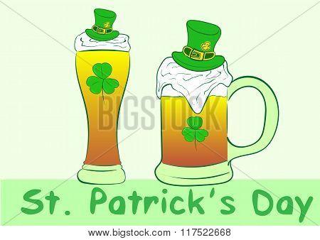 Glass and mug with beer