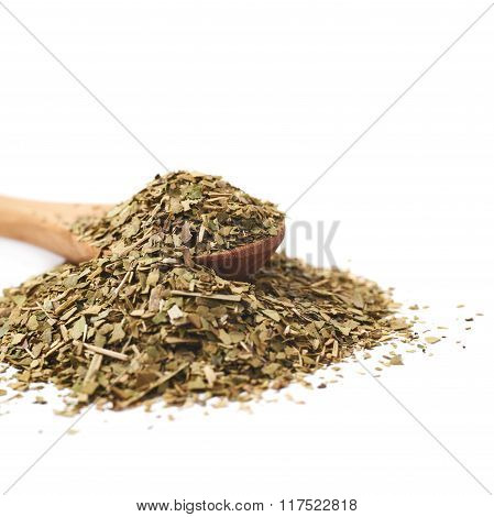 Pile of dry mate tea isolated