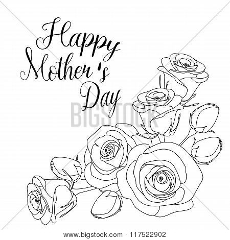 mothers day greeting card with roses, coloring page for adults, illustration